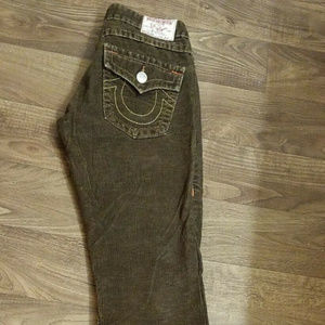TRUE RELIGION DARK BROWN CORDUROY JEANS Size 27